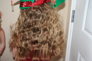 Back view of glitter spray hairstyle