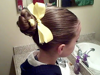 Side view of the Braided Bun with Ribbon