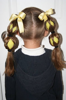 Back view of the Egg Tails ponytails