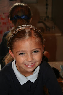 """Portrait of young girl modeling """"Hair Headband"""" hairstyle"""