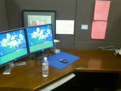 My new desk! Wow, I have a new desk! Sweet!