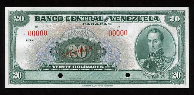 Venezuela currency 20 bolivares banknote