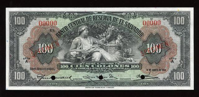 currency Salvador money colon banknote
