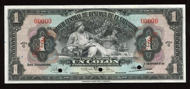 Billete Salvador colon banknote