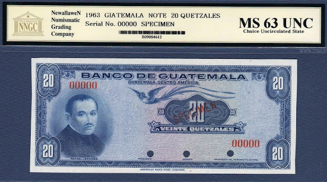 Guatemala banknotes currency 20 Quetzales banknote bill