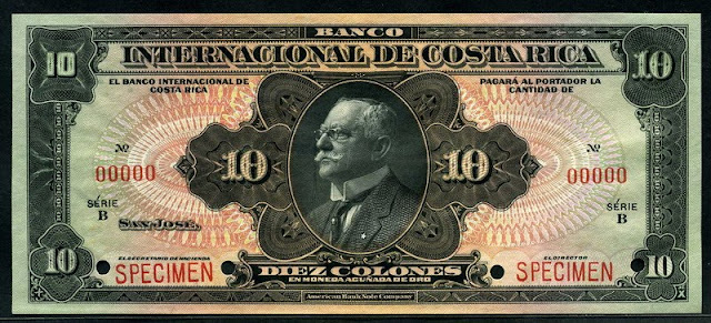 Costa Rica money currency 10 Colones banknote