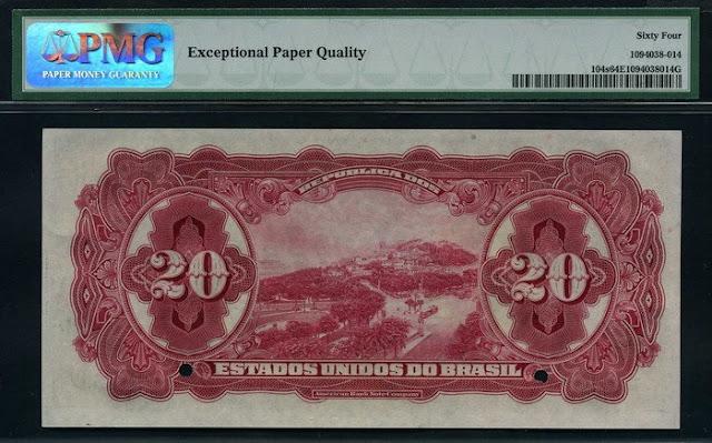 Brazil money 20 Mil Reis bank note