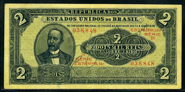 Brazil money banknotes 2 Mil Reis bill