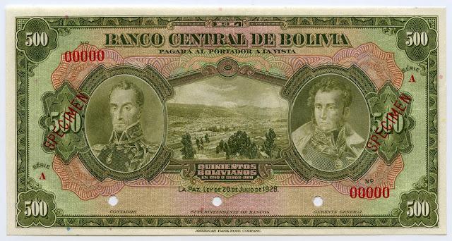 Notafilia Billete currency Bolivia paper money 500 Bolivian bolivianos banknote