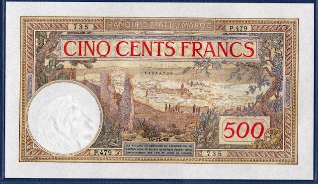 Morocco banknotes 500 francs Fez
