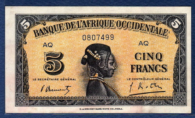 French West African 5 francs note