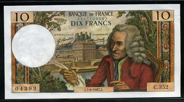 France currency banknotes values 10 French Francs 1967 Voltaire