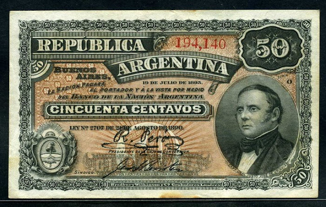 paper money Argentina 50 Centavos banknote Fractional Currency