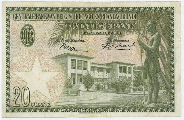 Belgian Congo paper money 20 Francs note bill
