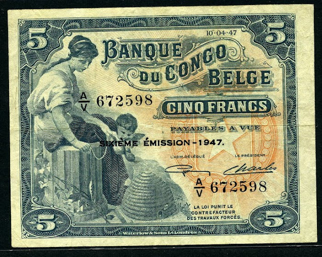 Belgian Congo banknotes 5 Francs