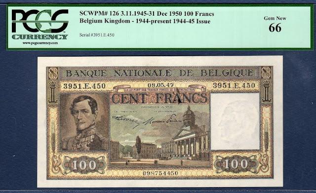 Belgium 100 Francs banknote