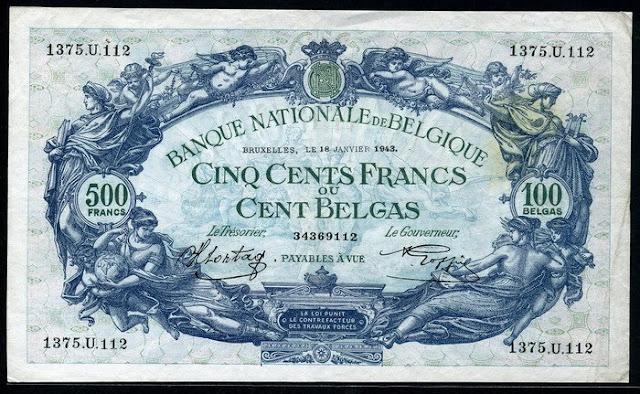 Belgium 500 Francs 100 Belgas banknote