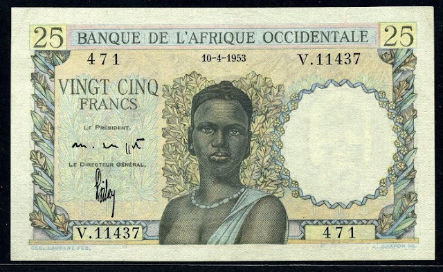 French West Africa banknotes 25 Francs banknote money currency