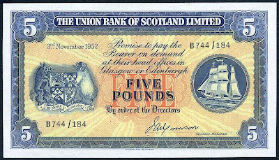 Scottish banknotes 5 Pounds Scotland Union Bank Limited