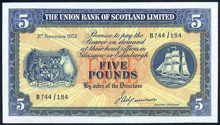 Scotland Union Bank Limited 5 Pounds Note Of 1952 World