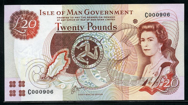 Isle of Man 20 Pounds banknote Queen Elizabeth