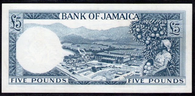 Jamaica banknotes money currency 5 Pounds Jamaican Woman