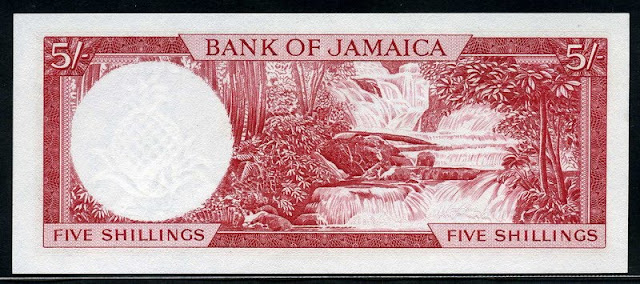 Jamaican banknotes 5 Shillings bank note currency images