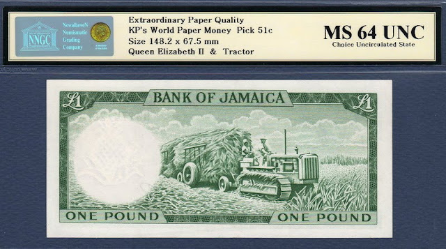 Jamaica Bank Notes 1 Pound paper money