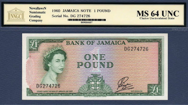Jamaica banknotes 1 Pound note Queen Elizabeth Girls of Great Britain and Ireland Tiara