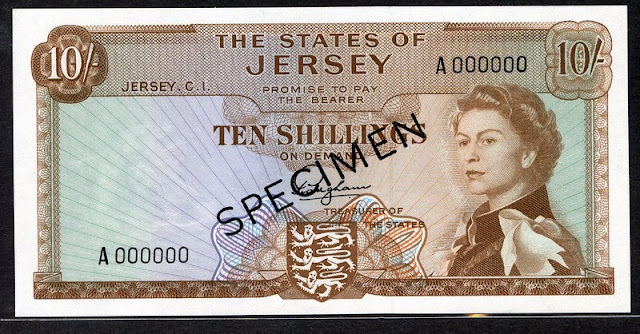 Jersey paper money 10 Shillings British Commonwealth banknotes Queen Elizabeth