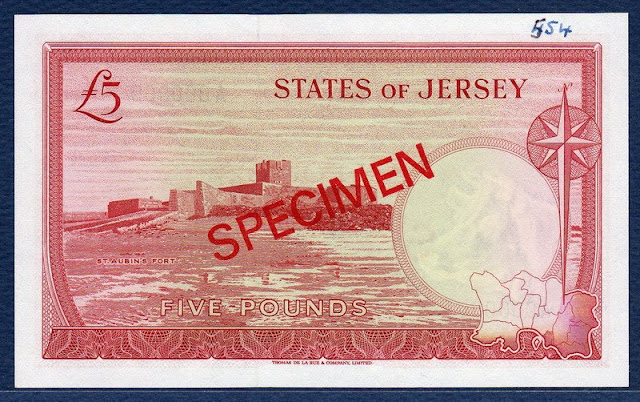 Jersey money currency 5 Pounds banknote Saint Aubin's Fort