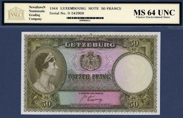 Luxembourg currency 50 Francs banknote Charlotte Grand Duchess Luxembourg