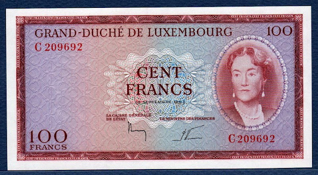 World currency Luxembourg 100 Francs banknote Grand Duchess Charlotte