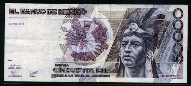 World paper money Mexico 50000 Pesos Cuauhtémoc banknote