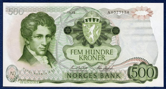 Norway 500 Kroner banknote Norges Bank paper money Niels Henrik Abel