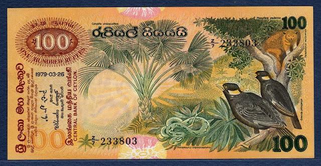 Sri Lanka Ceylon money currency 100 Rupees banknote