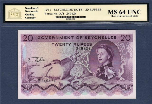 Seychelles banknotes 20 Rupees banknote Queen Elizabeth II