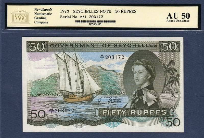 Seychelles Banknotes 50 Rupees Banknote Of 1973 Queen