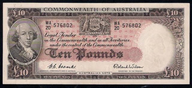 Australian paper money 10 Pounds banknote 1960 Admiral Arthur Phillip