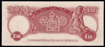 Currency of Australia Ten Pound Predecimal Banknote