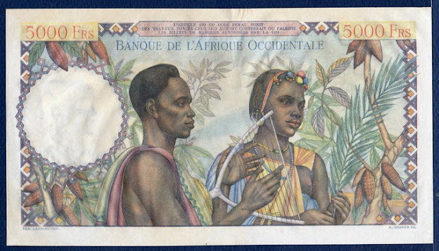 French West Africa 5000 Francs banknote Billets anciens numismatique