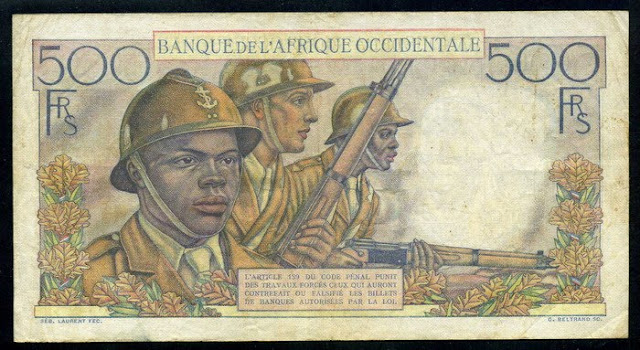 French West Africa banknotes 500 Francs banknote French colonial Soldiers