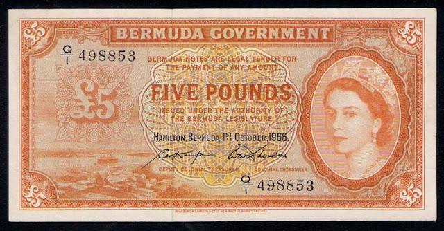 British banknotes Bermuda 5 Pounds note Queen Elizabeth II paper money collector