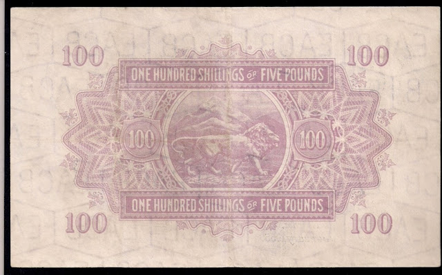 British currency East Africa 100 Shillings 5 Pound banknote bill