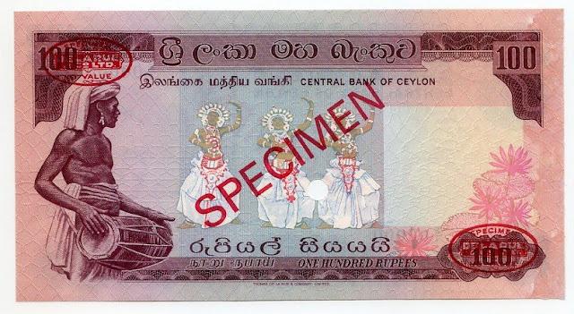 Paper Money Ceylon 100 rupees Thomas de la Rue Specimen banknote