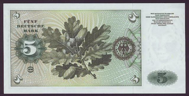 Germany Paper Money 5 Deutsche Mark banknote