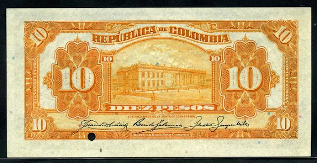 Colombia 10 Pesos note banknotes bills notes pictures
