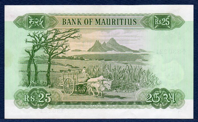Paper Money Mauritius 25 Mauritian Rupees banknote bill