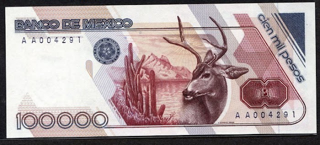 Paper Money Mexico 100000 Pesos