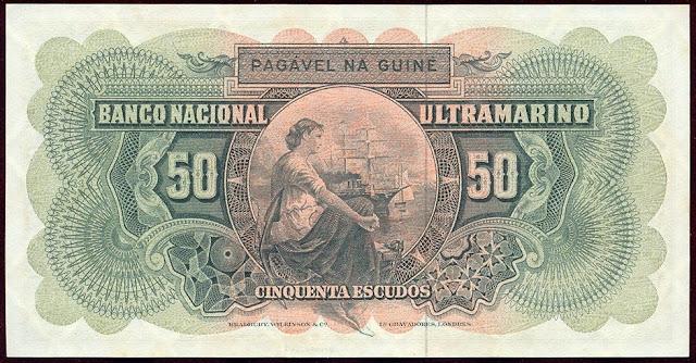 Banco National Ultramarino banknotes 50 Escudos note bill
